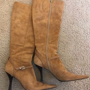 KENNETH COLE NEW YORK BROWN SUEDE LONG BOOTS 6